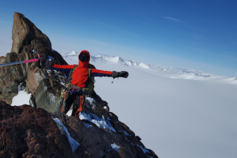 Alison Levine completes a first ascent of Hall Peak, in Antarctica.