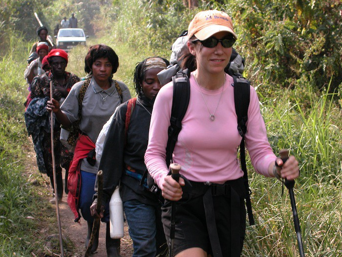 Alison Levine leads the first group of female porters in Uganda.