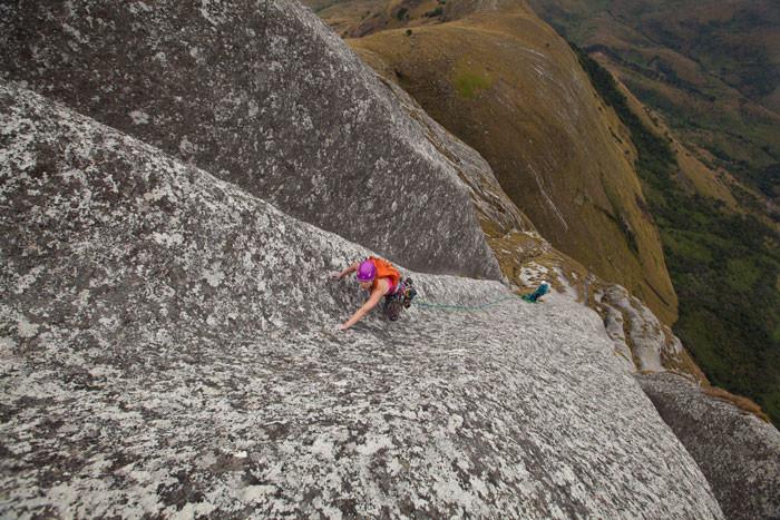 Majka Burhardt climbing Mount Namuli, photo by Rob Frost.